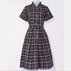 Vintage 1950s Tartan Plaid Dress